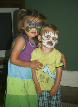 Hunter and Alayna as a zebra and butterfly