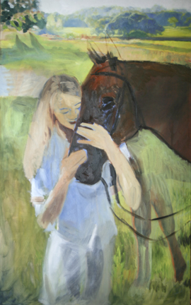 Katie and Bogota - beginning to paint over original pose